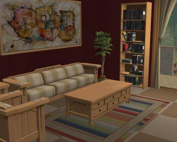 mod the sims maxis recolors room in a box living room tan stripe bravo. Black Bedroom Furniture Sets. Home Design Ideas