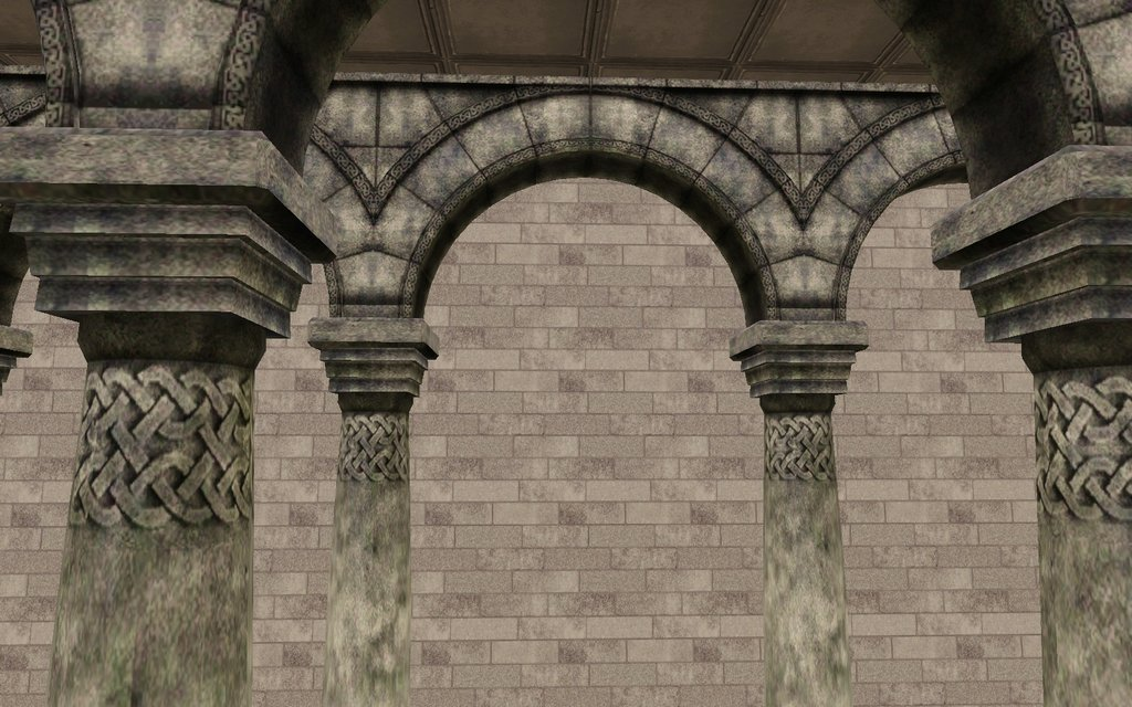 Mod The Sims Romanesque Connecting Column Arches Set