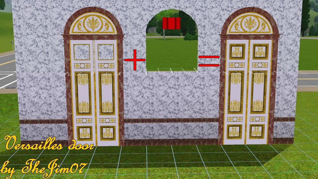 You will find the door in the door section (for §1200) and the window in the window section (for §0). The door has 3 channels. & Mod The Sims - Versailles door pezcame.com