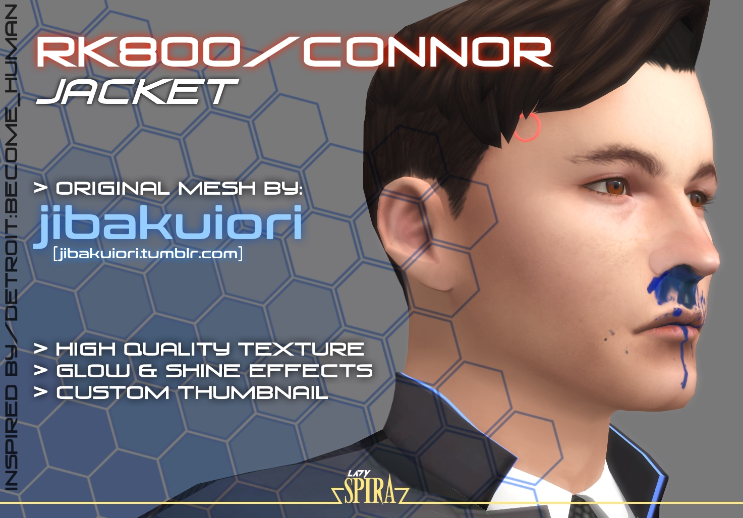 Mod The Sims - RK800 Connor Jacket RE-TEXTURED by LadySpira