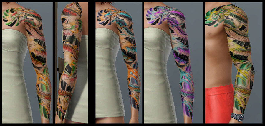 Dragon Sleeve 3 Color Pattern Areas This Uses Artwork By Dirtyallover At Deviant Art Colored Adequately Me If You Like The Design Then Go Tell