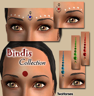 Mod The Sims - 6 Bindis - 1 traditionnal bindi, and 5 fancy ones
