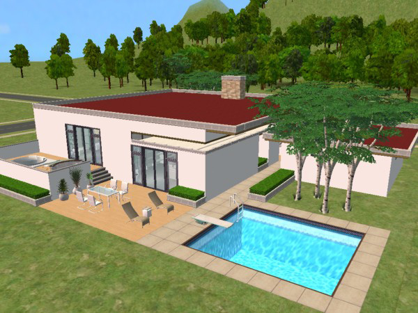Mod The Sims Modern 1 Story Split Level With A Red Roof