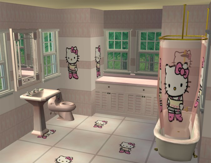mod the sims hello kitty bathroom base game only. Black Bedroom Furniture Sets. Home Design Ideas