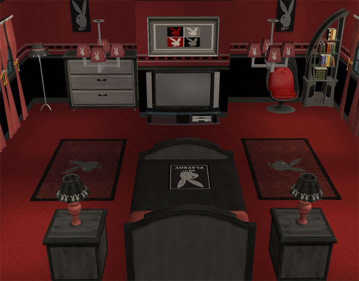 mod the sims playboy bedroom complete recolour set