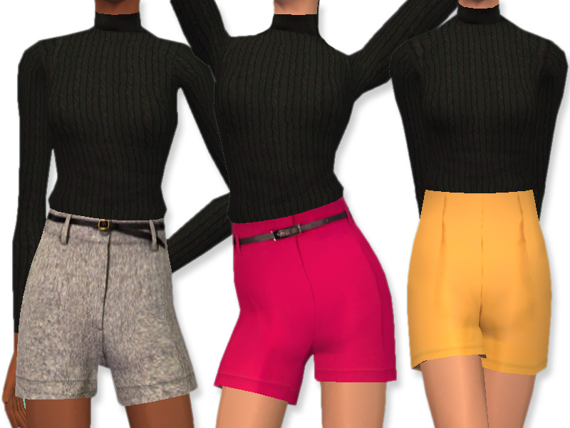 Mod The Sims - Chic Shorts: High Waisted Shorts For AF Sims!