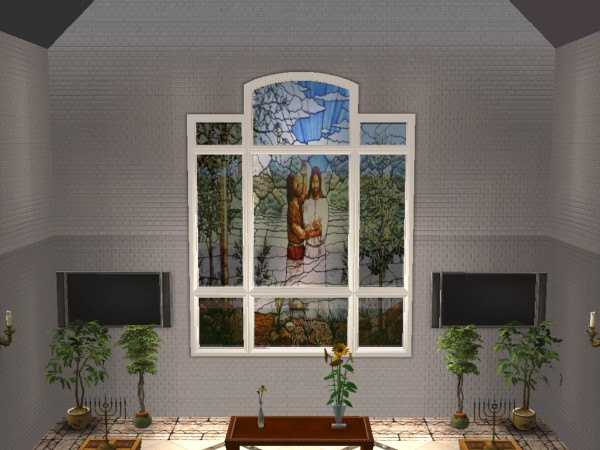 Mod the sims octothorp atrium window church style w for Atrium windows