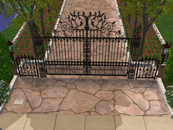Mod The Sims Wrought Iron Gate 2 With Picket Fence