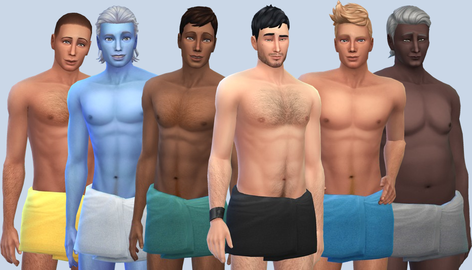 Mod The Sims - Male Shorter Towel Wrap (Base game + Spa Day