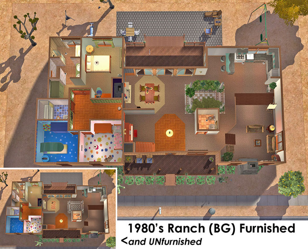 Mod The Sims - 1980's Ranch Style House (BG only) with ... Ranch House Plan X on rustic home plans, 1 600 sf ranch plans, mediterranean style home plans, rambler style home plans, ranch blueprints, patio home plans, floor plans, southern brick home plans, cabin plans, l-shaped range home plans, large family home plans, log home plans, new ranch style home plans, ranch horses, ranch remodel before and after, 3 car garage ranch plans, luxury home plans, ranch mansions, ranch decks, custom home plans,