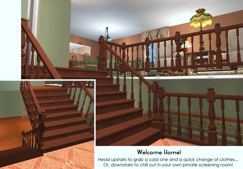 Mod the sims split level living traditional design for How to decorate a split level house