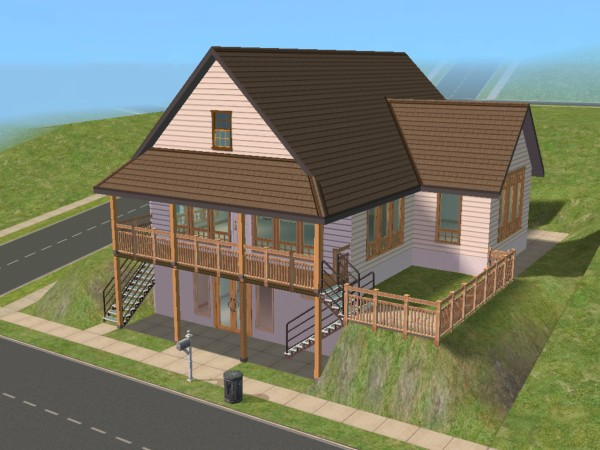 Mod the sims daylight basement cottage for Daylight basement home plans