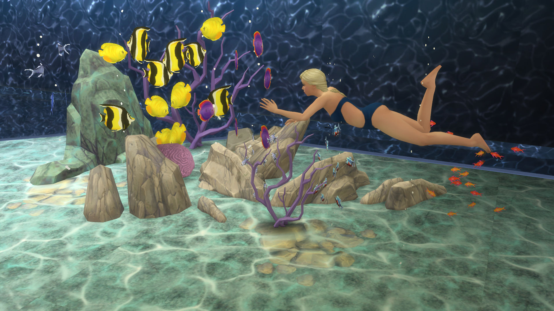 Mod the sims mermaid lake diving spot for Diving and fishing mural