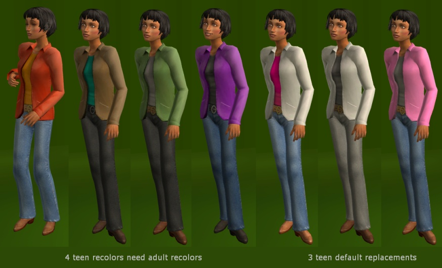 Mod The Sims - Jacket Outfit for Adults Too! DEFAULTS