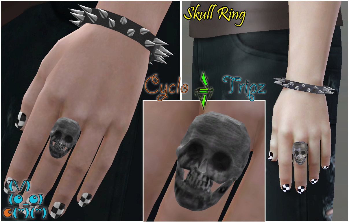 mod the sims spiked chokers and bracelets set and skull