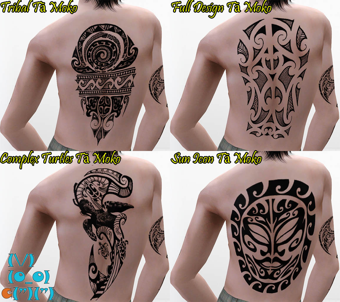 Mod The Sims 28 Tribal Maori Ta Moko Tattoos