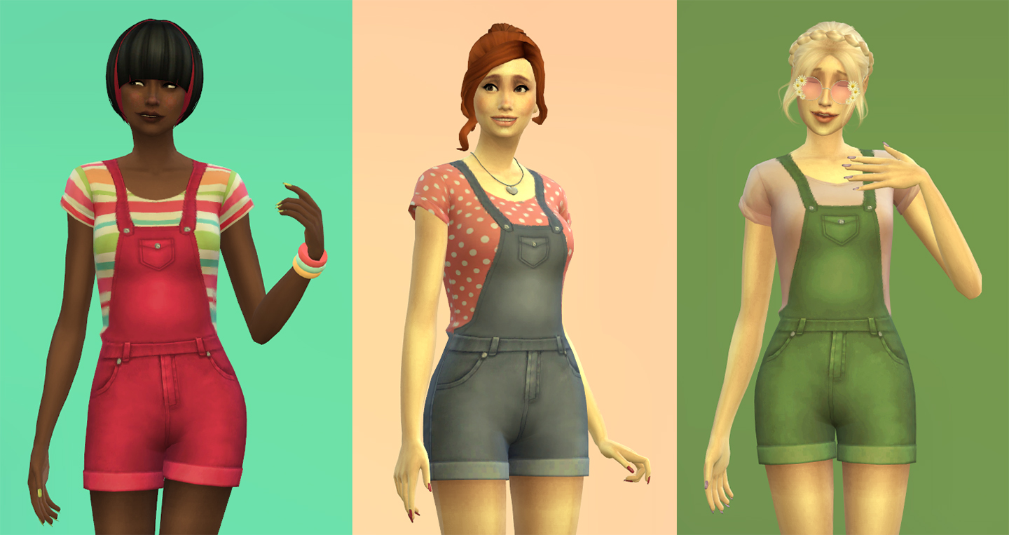 mod the sims   short overalls for women
