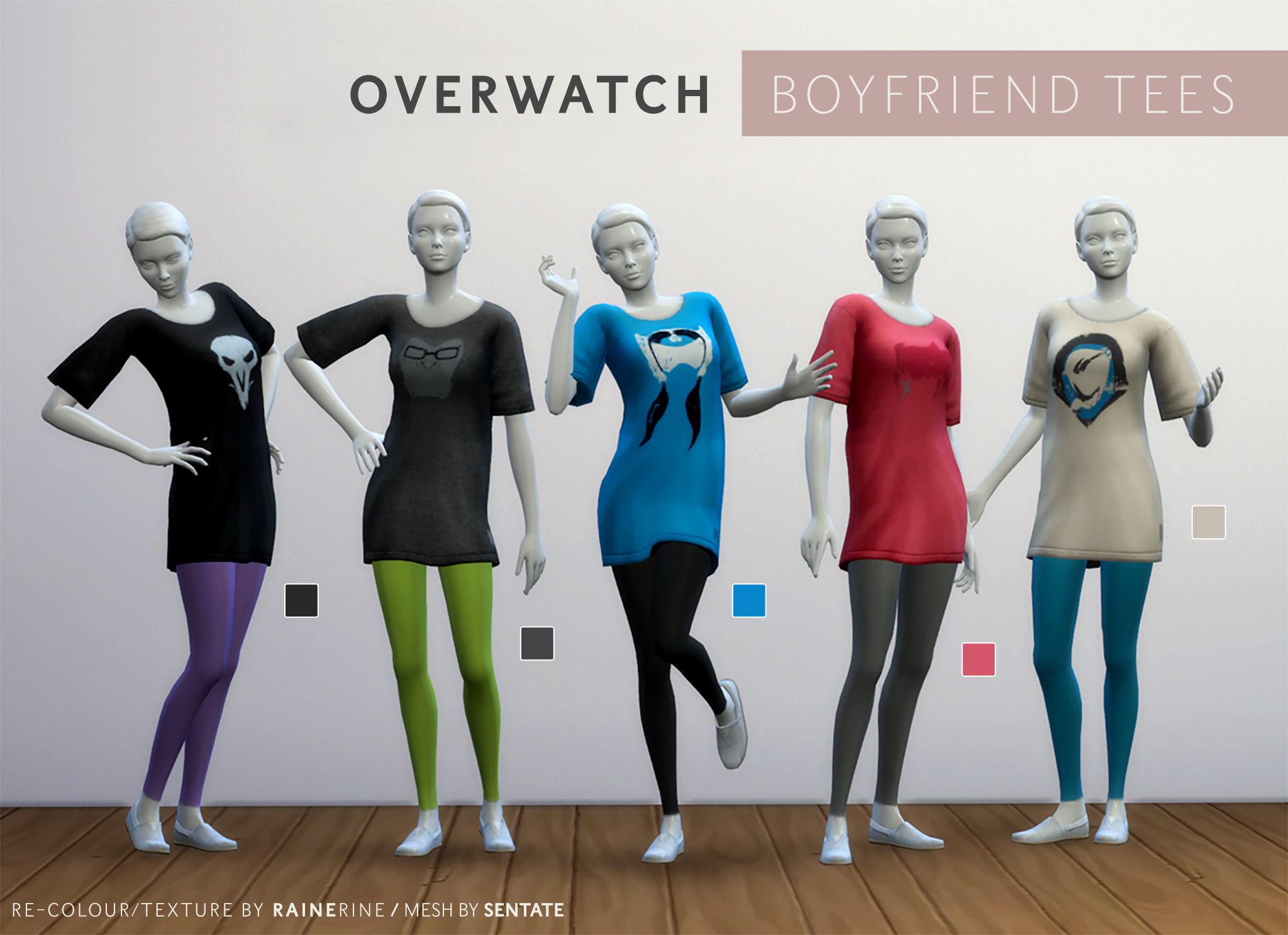 Mod The Sims - Overwatch Boyfriend Tee/Dress for Female Adults