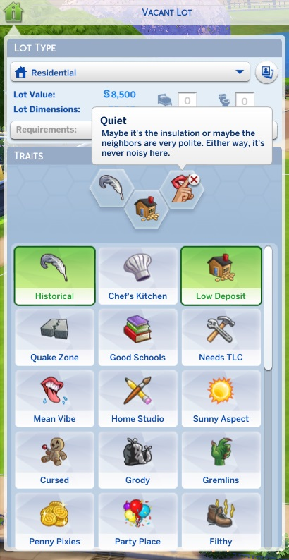 Mod The Sims - Unlocked Lot Traits