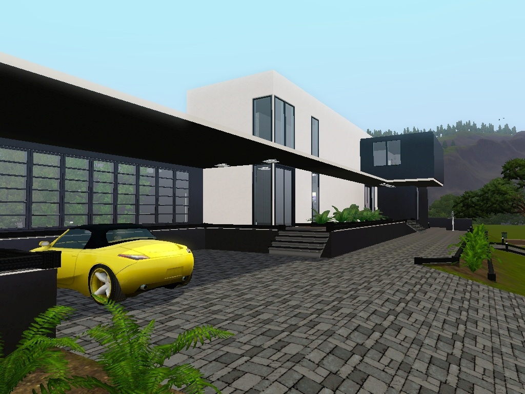 Mod the sims contemporary au courant large modern house for Big modern houses pictures