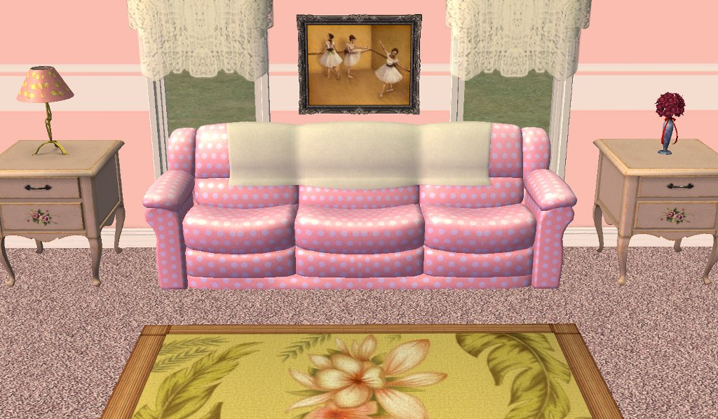 Mod The Sims - 3 Feminine Recolors of Both Subsets of Freetime Sofa