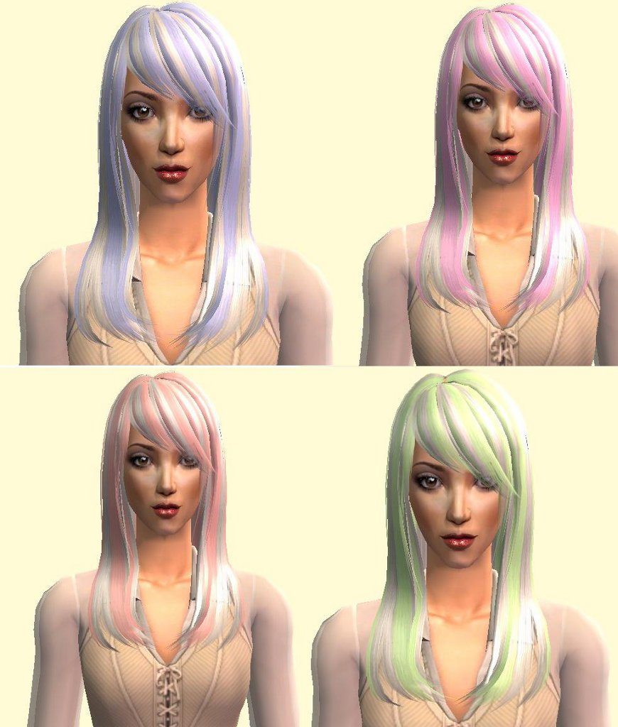 Mod The Sims - 4 White Streaks Recolors of A Trim for Nouk's Tommie Hair
