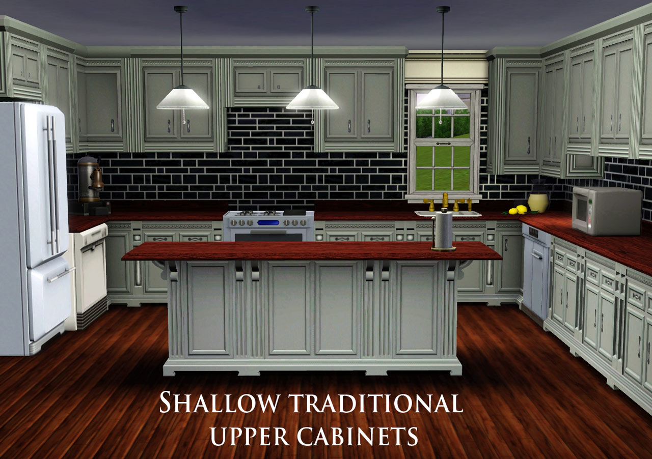 Sims Kitchen Mod The Sims Shallow Traditional Wall Cabinet