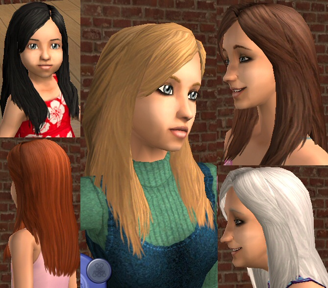 Sims 2 Hairstyles: Tata Young Hair For All Ages, Remeshed For