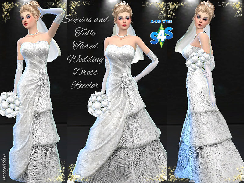 Mod The Sims Sequins And Tulle Tiered Wedding Dress