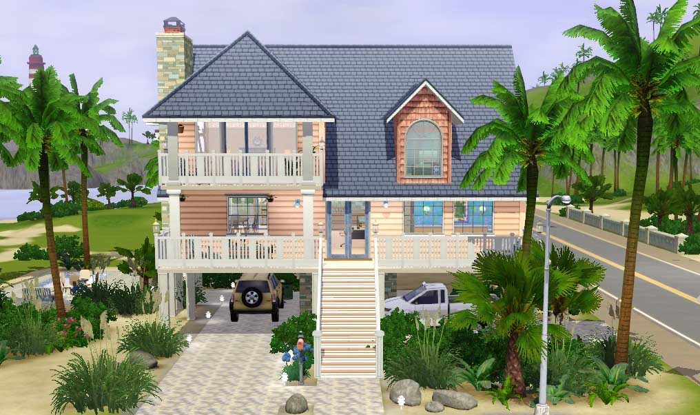 Mod the sims 39 coral reef 39 4 bdr 4 bath beach house on for Classic house sims 3