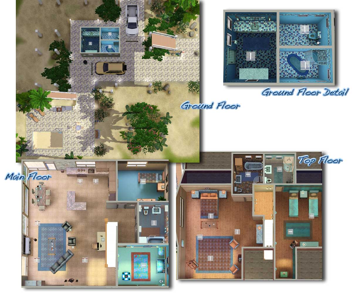 Mod The Sims Coral Reef 4 Bdr 4 Bath Beach House On Stilts