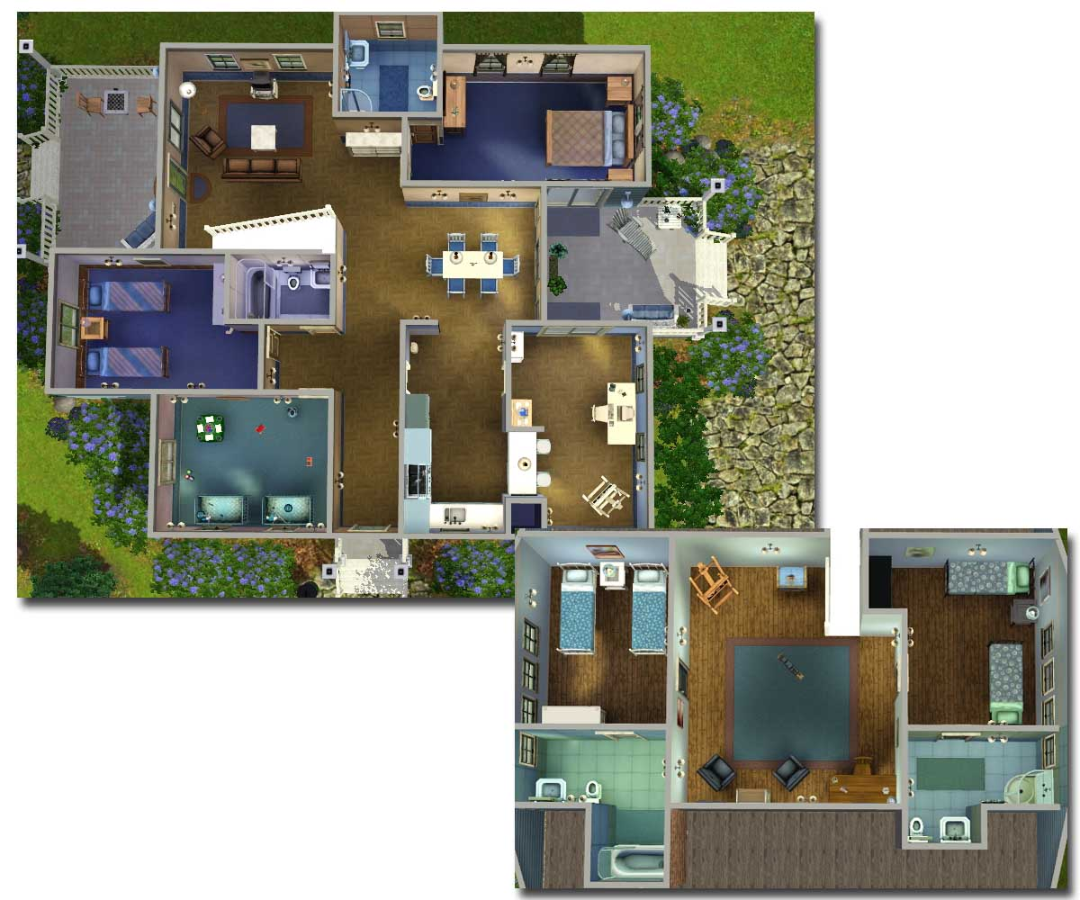 7 bedroom house plans sims 3 for Three family house plans