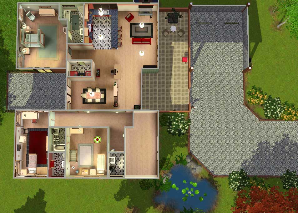 mod the sims - 'green tea' modern 3+ bedroom with light asian theme