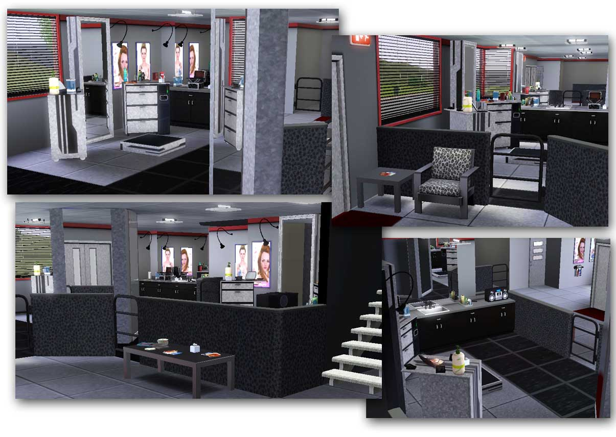 Mod the sims ink and dye co stylist and tattoo parlor for Sims 3 salon moderne