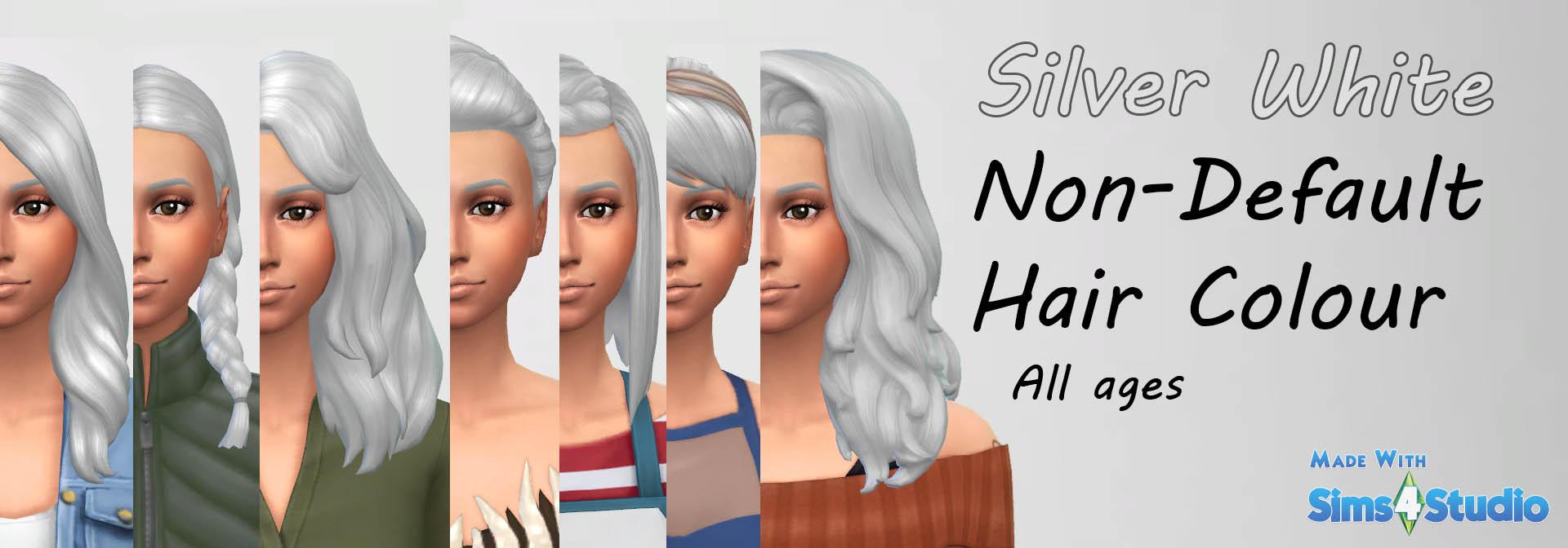 Mod The Sims Silver White Hair Colour Non Default