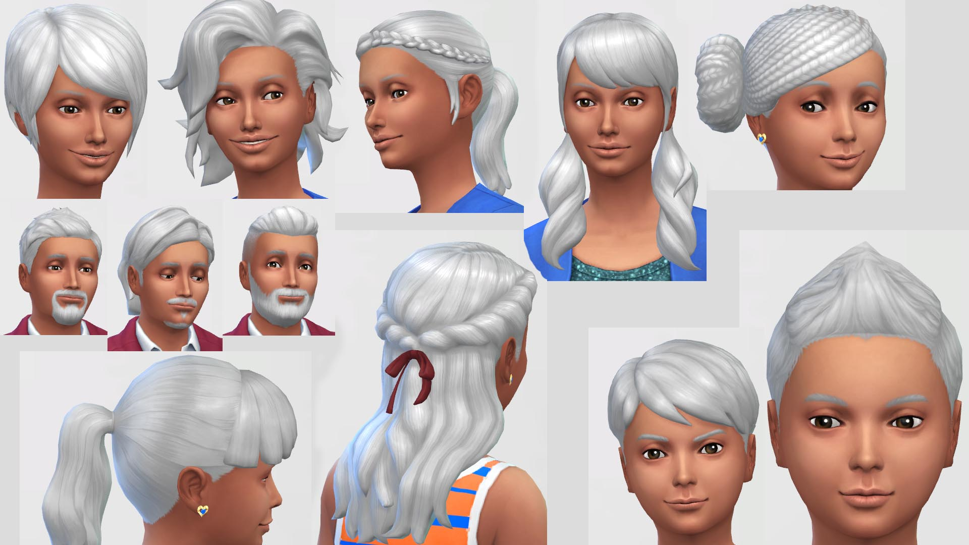 Mod The Sims  Silver White Hair Colour  Non Default - Anime Hairstyles Male