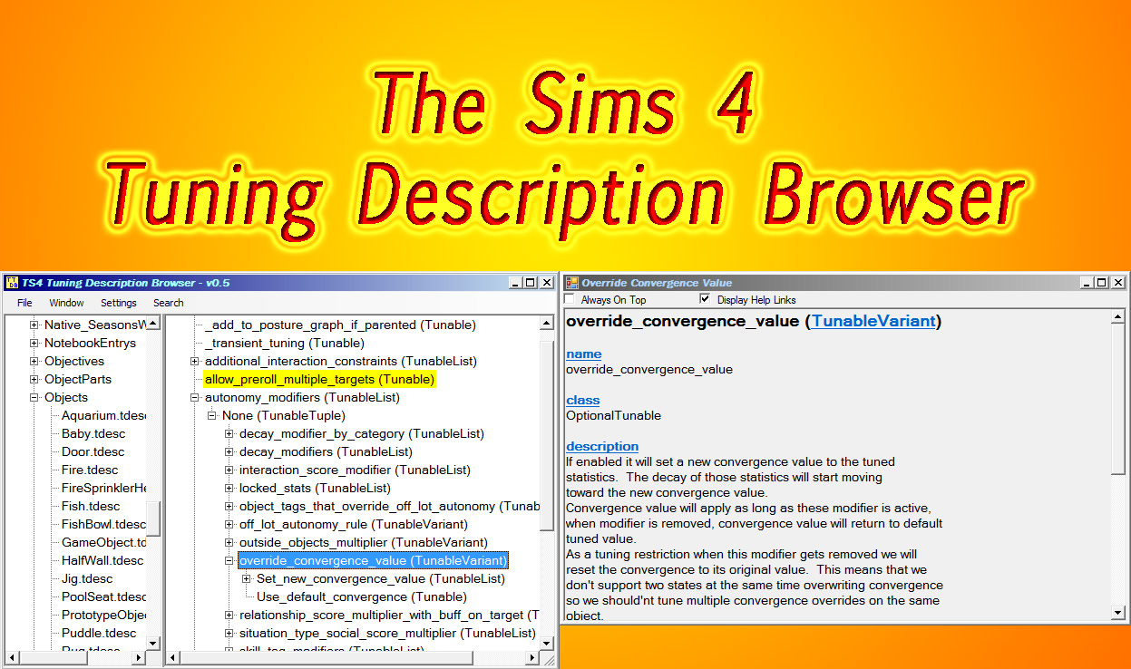 Mod The Sims - TS4 Tuning Description Browser (Windows Only)