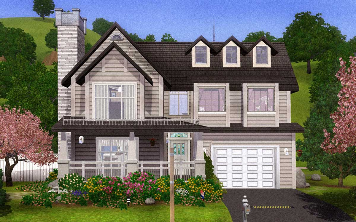 Mod the sims comfortable charming family home with basement for Family homes com
