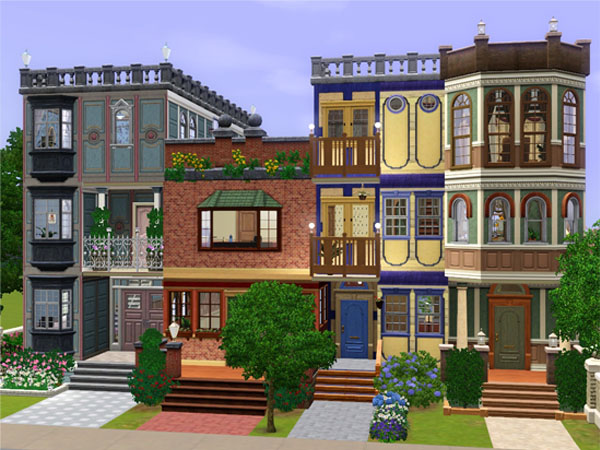 Mod the sims san francisco row house apartments for Appartement design sims 3