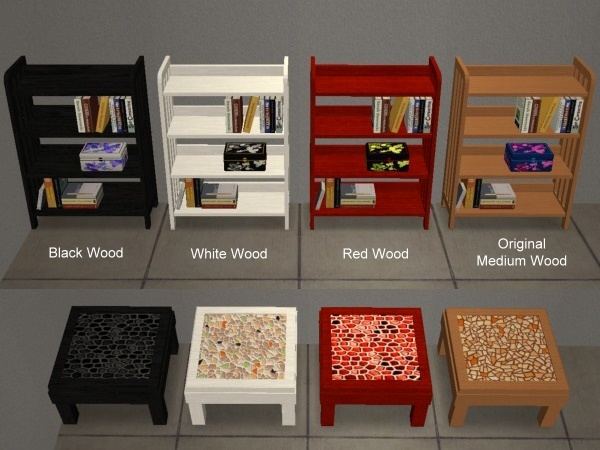 Advertisement:   Mod The Sims   8 Recolors Of Sims2Play Oriental Bookcase  And