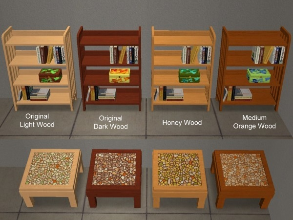 mod the sims - 8 recolors of sims2play oriental bookcase and
