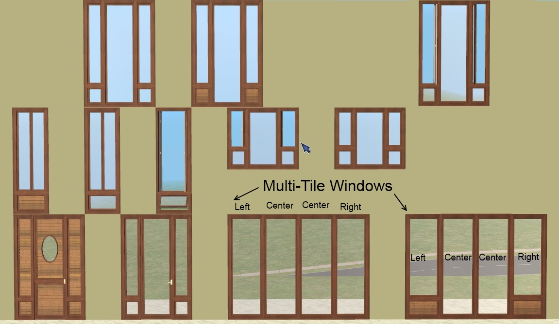 Mod the sims pinegultcher windows and doors for The door and the window