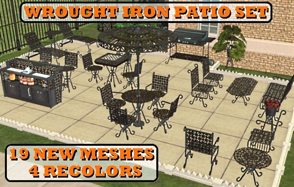 Mod The Sims The Wrought Iron Patio Set 19 New Meshes 7 24 12