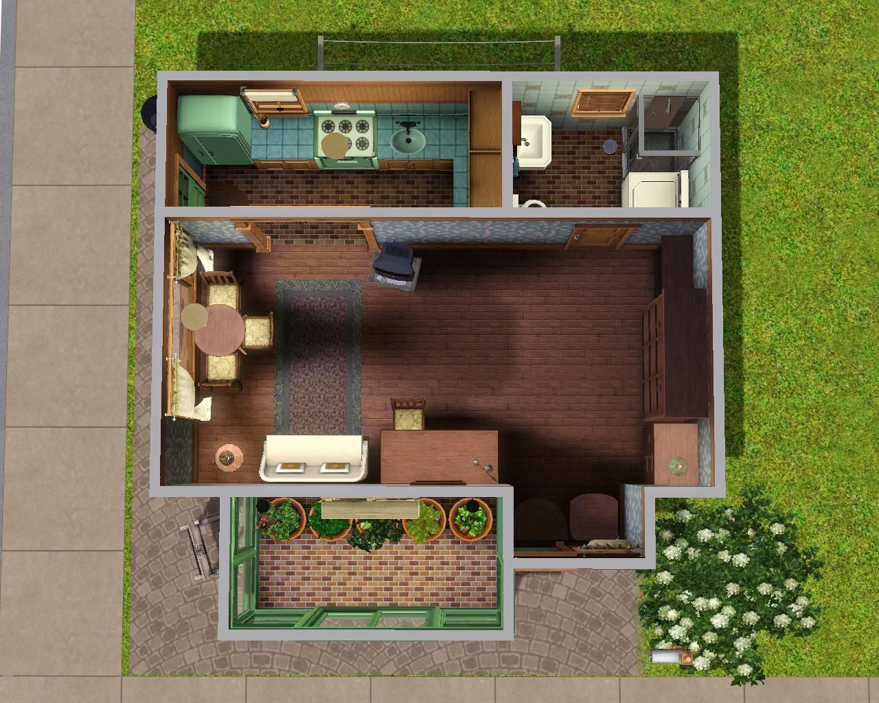 Mod the sims the gardener 39 s house mini starter for Starter house plans
