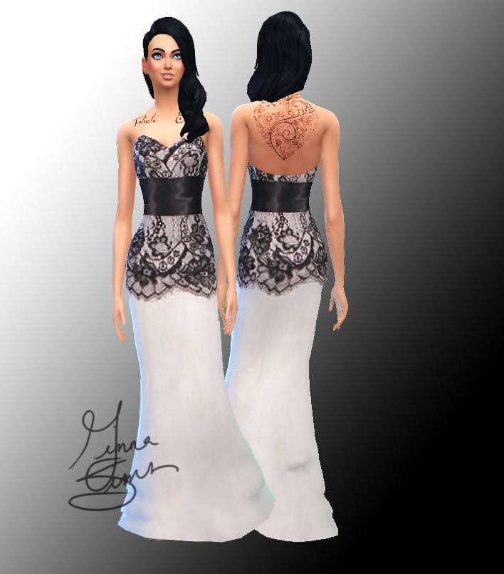 Mod The Sims - Black and White Formal Gown