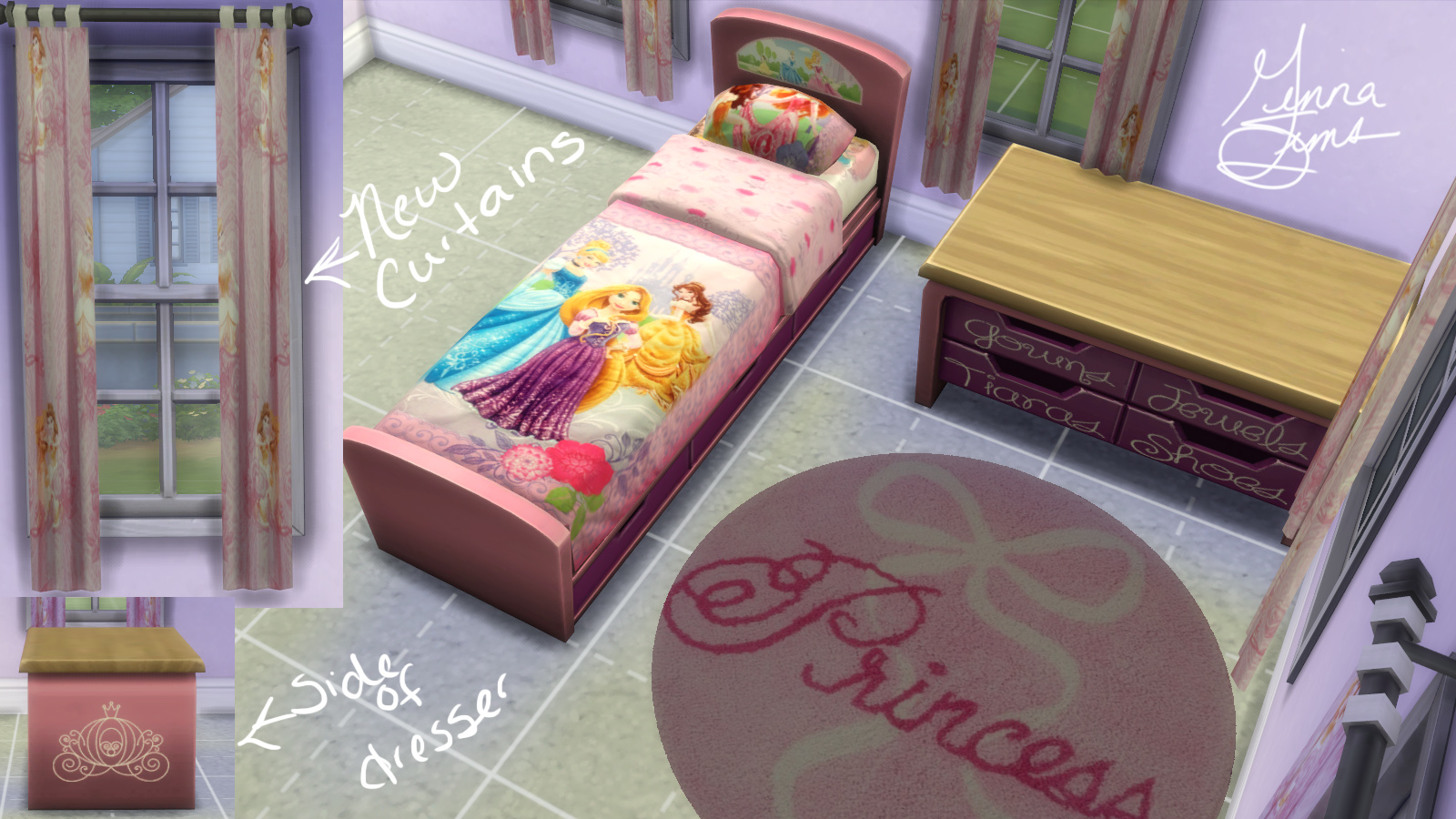Mod The Sims Disney Princess Bedroom Set