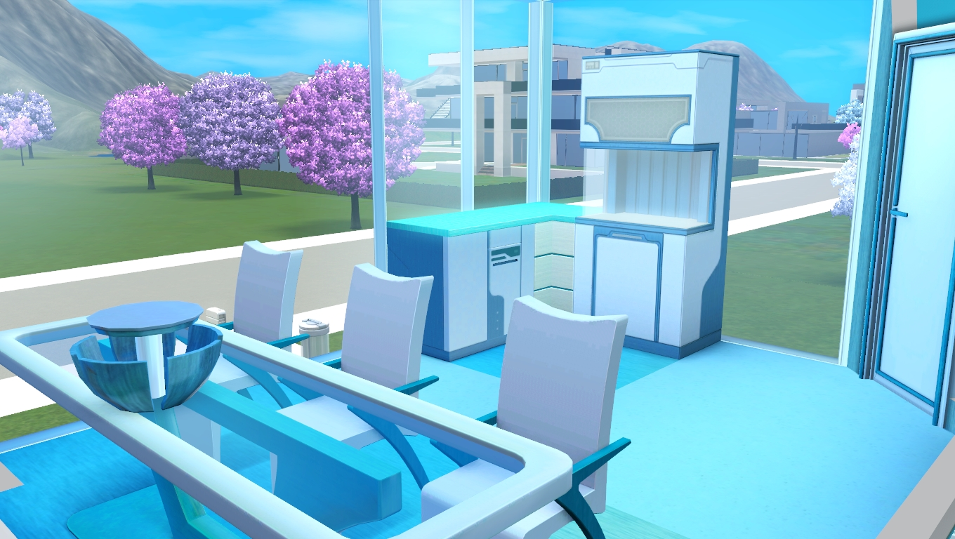 mod the sims - cyber cyan - glass house (no cc)