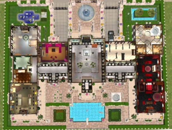 The sims 3 castle floor plans for Mansion floor plans sims 3