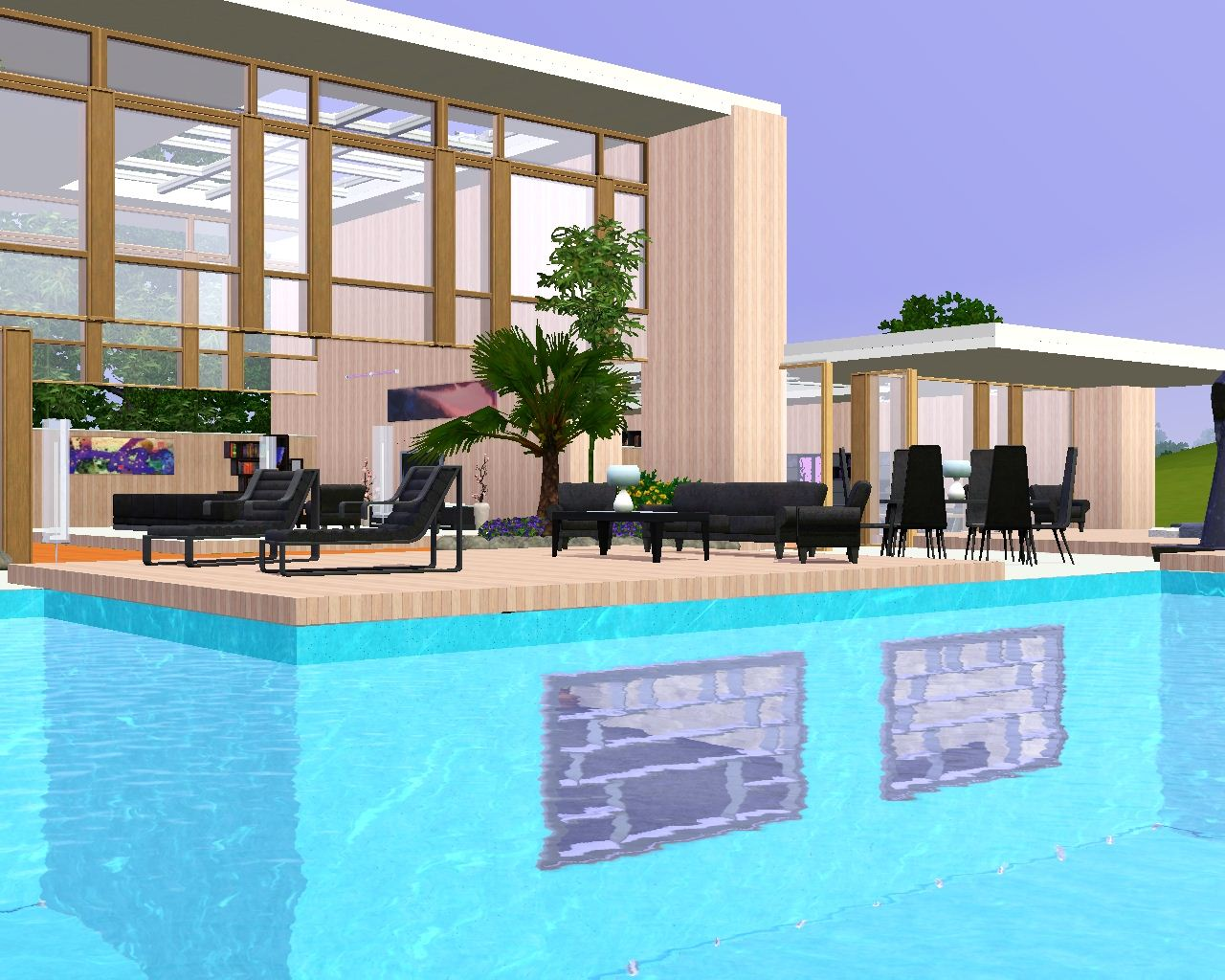 Mod the sims modern pool house - Modern house with pool ...