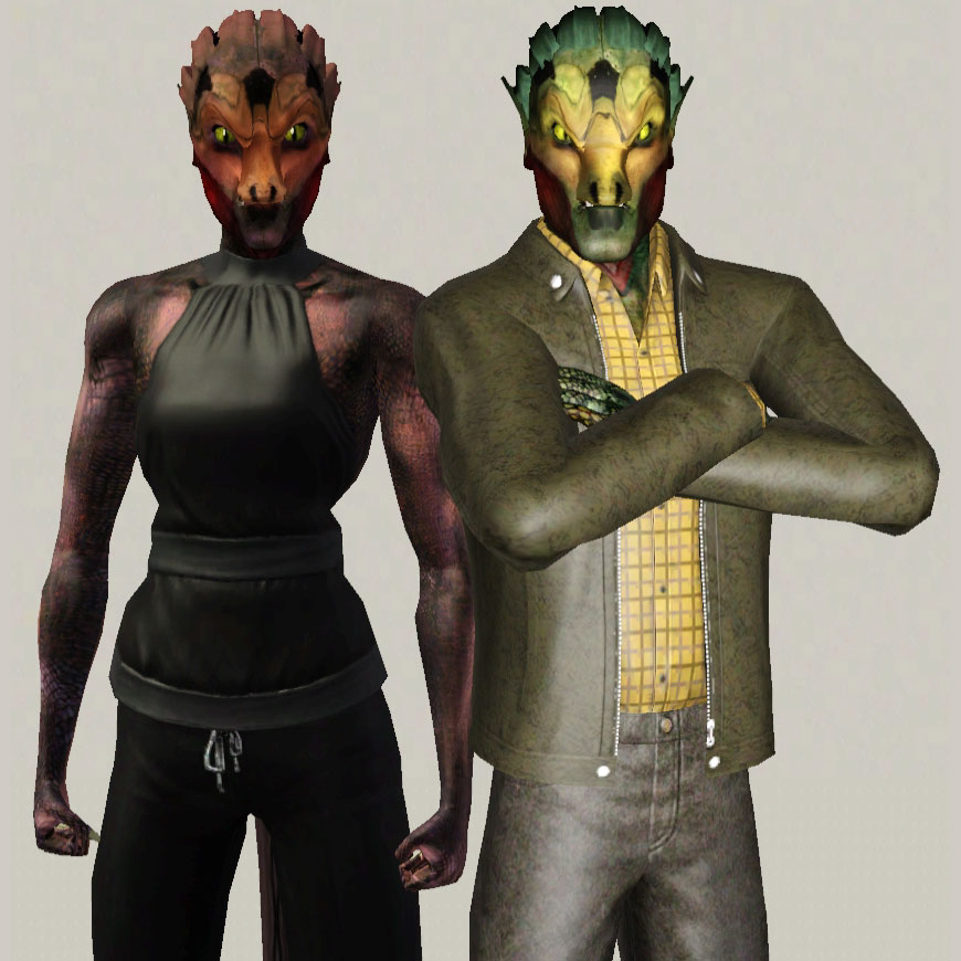 Mod The Sims - Reptilians: Drake Byrne and Amethyst Sparks